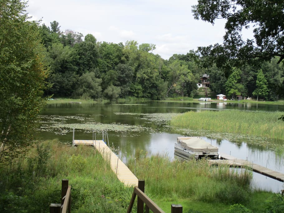 Peaceful and natural lake setting with private dock