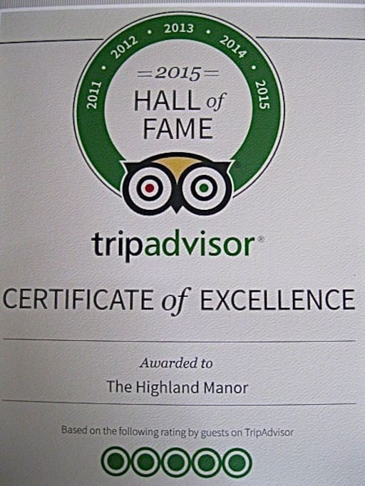 Our Inclusion in the TripAdvisor Hall of Fame