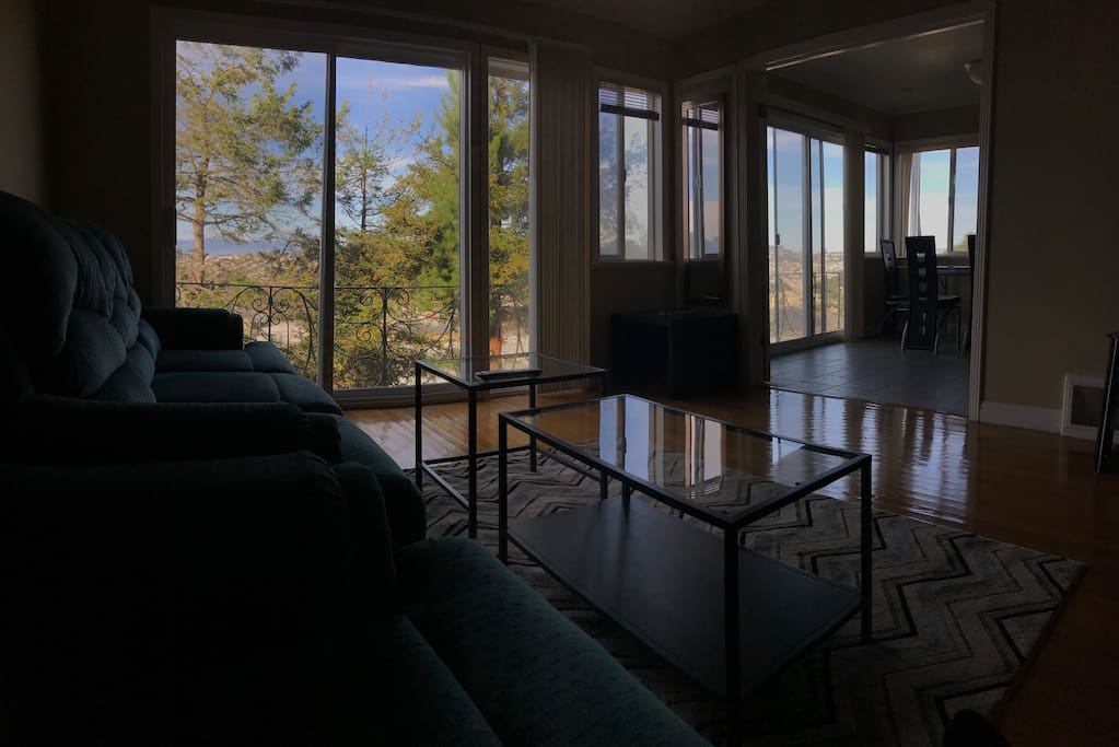 Living room is connected to dining room, both have balcony and view.