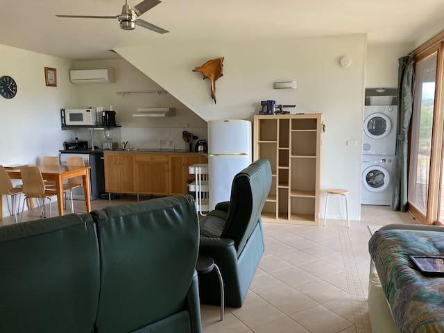 View into the open living area which contains kitchenette/dining area; queen size, single and trundle beds; lounge area with two 2-seater couches and television and laundry area with front loading washing machine and dryer.