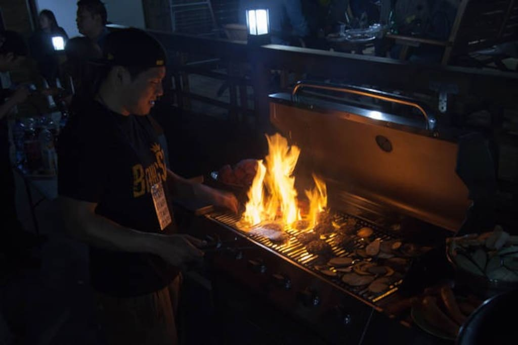 한겨울에도 따뜻하게 각종파티(바베큐),워크샾,이벤트를 진행할수있는   ROOF GARDEN-(난로에,고구마.군밤을 구워먹을수있어요~)