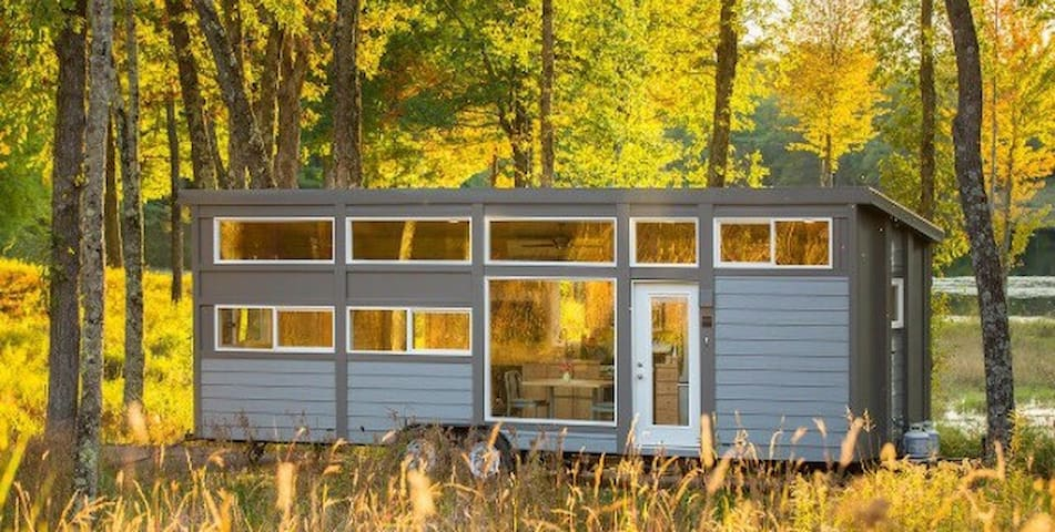 Tinyhouse in the woods on the water UNPLUG