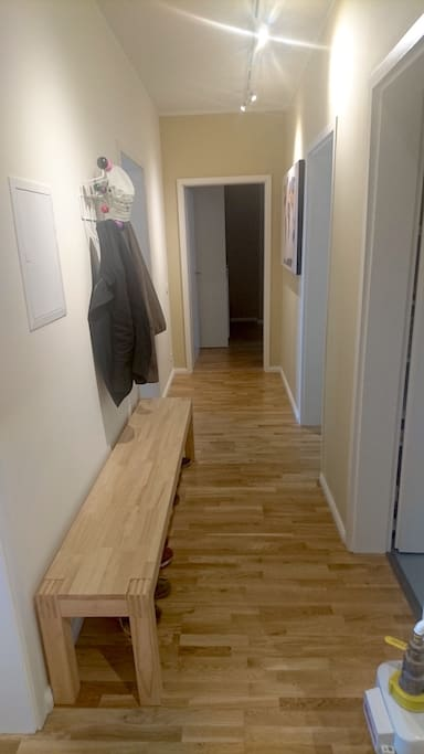 The corridor. Your room and the living room is on the left, the bathroom and the kitchen are to the right.