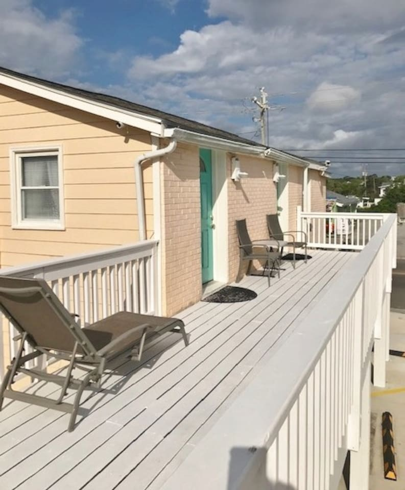 Large deck space to lounge and look across at Carolina Beach Lake!