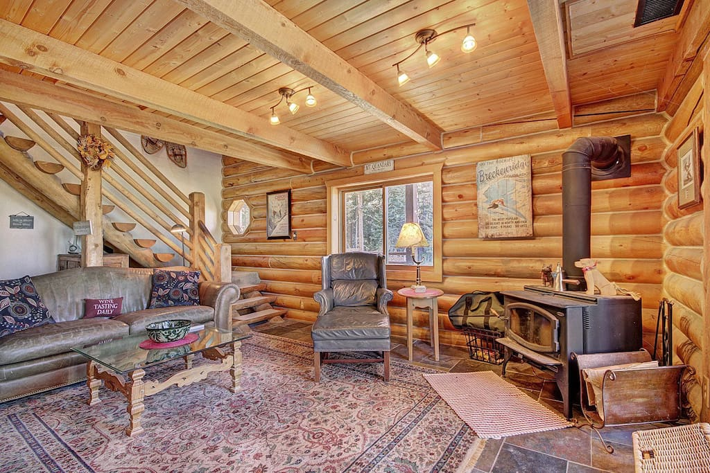 Inviting living room with wood stove