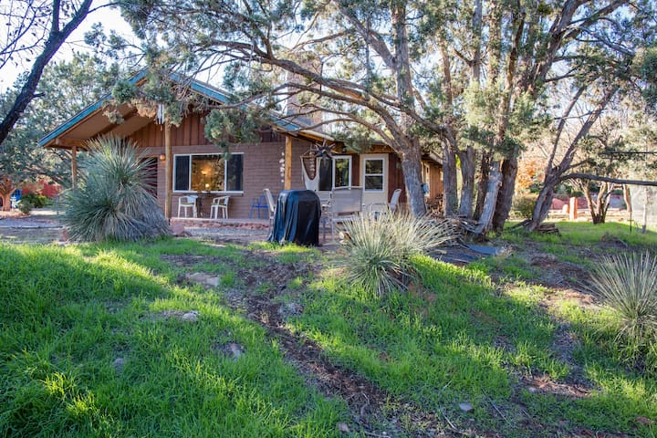 Lots of privacy on this 1/3 wooded acre. Patios face view of Cathedral Rock - riveting!
