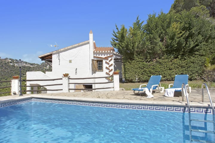 Ibicenca villa on a hill in a residential area with private swimming pool