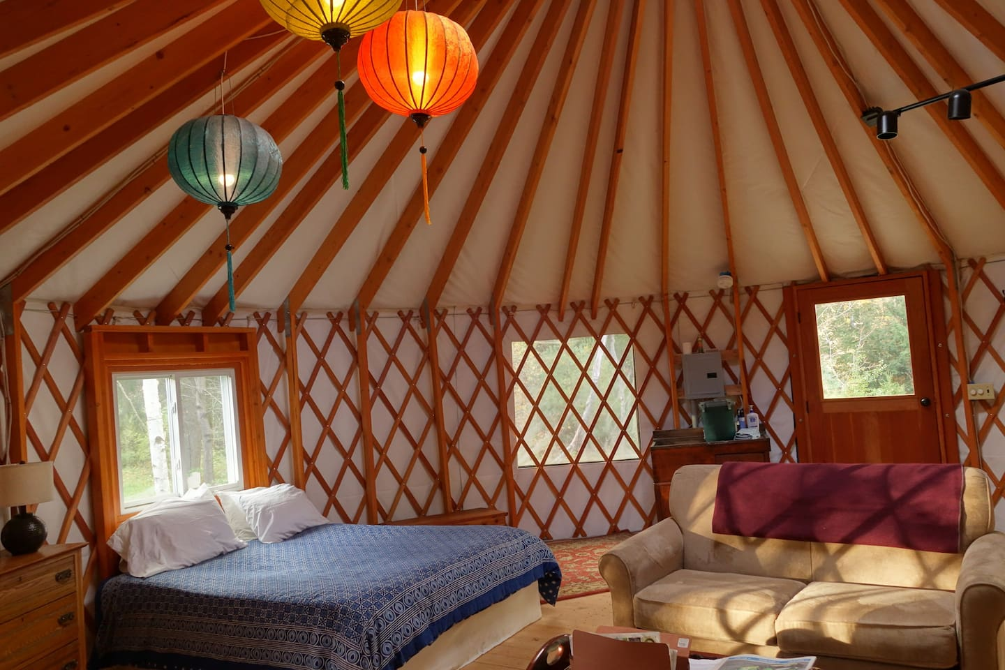 The sun-drenched, spacious yurt is a perfect retreat. Connected to nature yet protected from the elements.