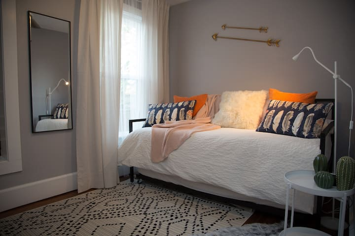 Trundle bed pulls out for space for 2 to sleep
