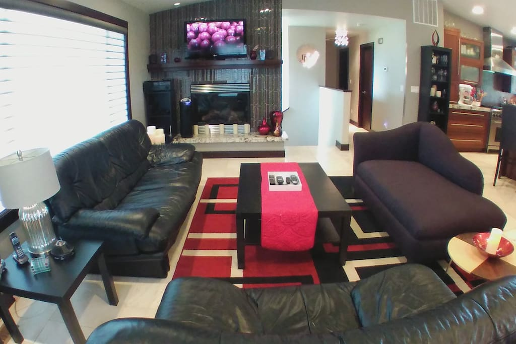 Comfortable shared living area with leather couch and loveseat