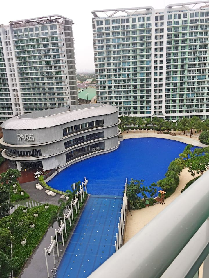Overlooking the wave pool from the balcony