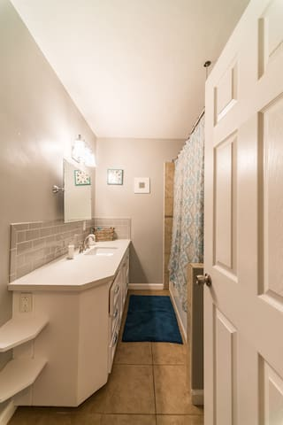 Guest bathroom recently renovated and fully stocked with everything you need for a wonderful stay.