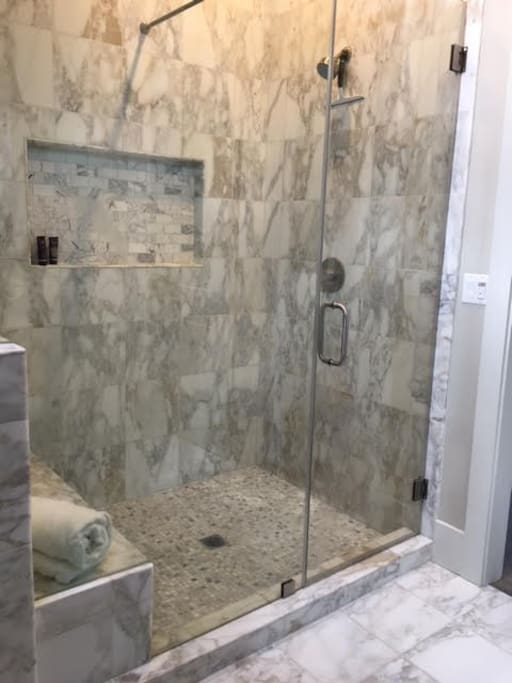 Large walk-in shower in your private en-suite bathroom