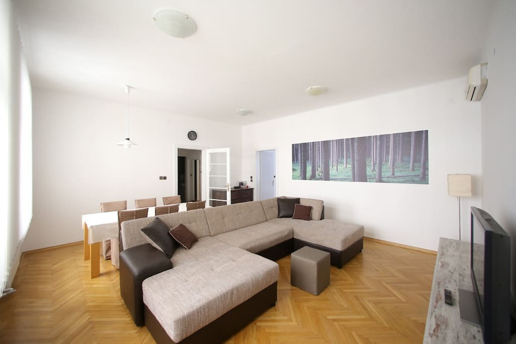 """This big and very comfortable sofa can, when pulled out, serve as a sleeping space for two additional persons (pulls out in double/full bed size).  """"The apartment is very spacious, especially loved the big couch in the living room. It is also very well located in the center. Can definitely recommend the place."""" (by Samuel)"""