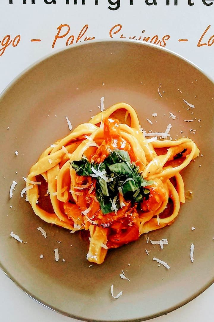 Tagliolini with heirloom tomato sauce