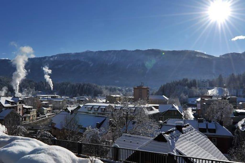 Blich auf Hermagor im Winter