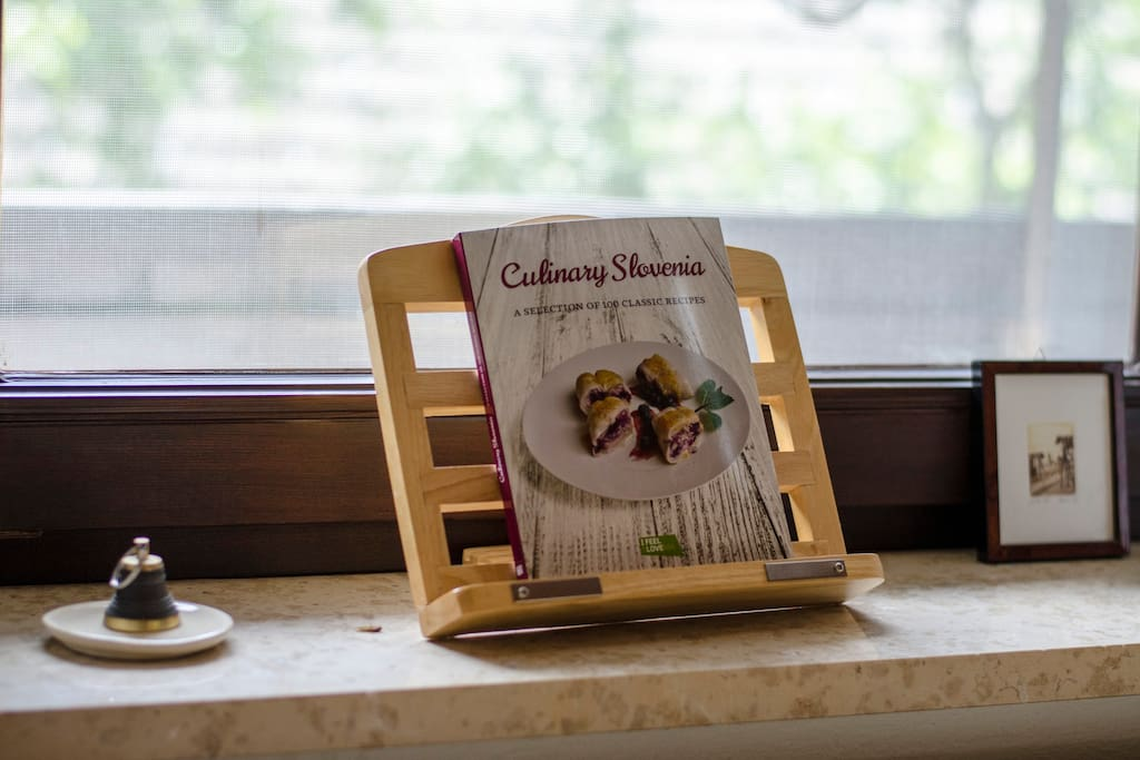 Recipe book in the kitchen so you can prepare some traditional Slovenian cuisine