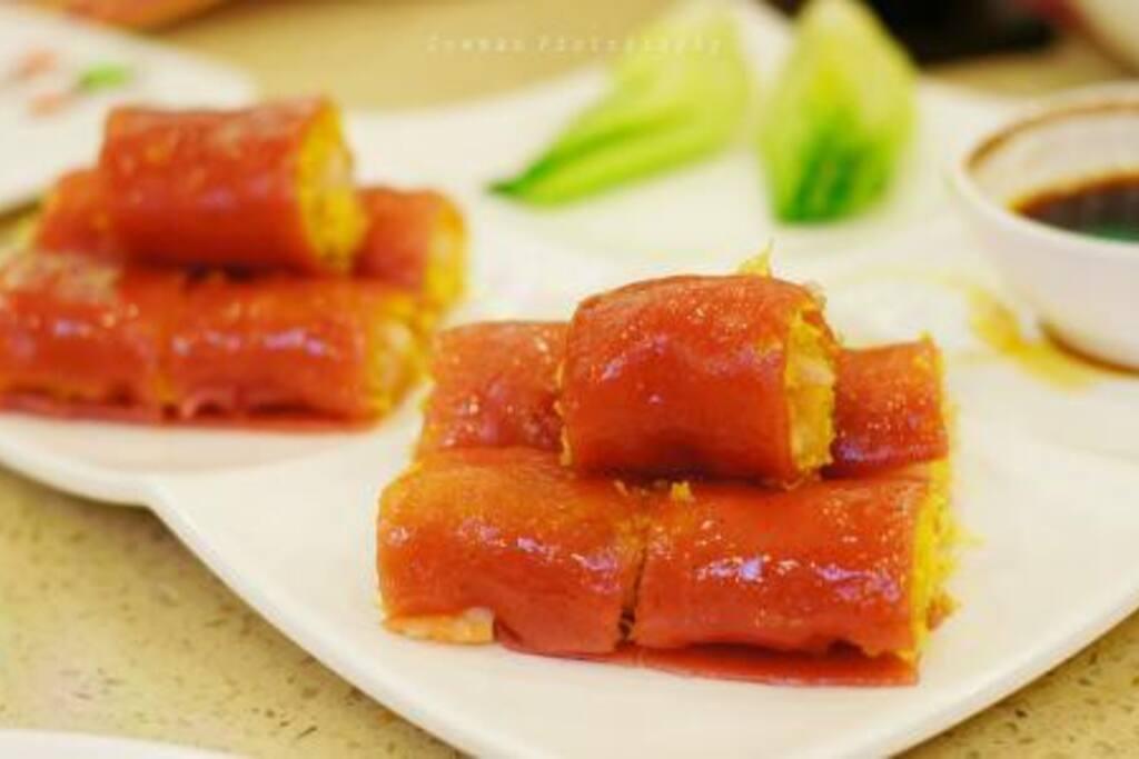 广式精致早茶的代表作——金沙红米肠