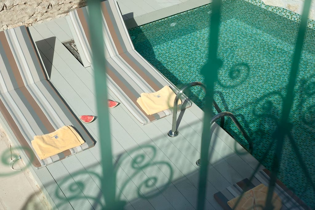 The outdoor pool as seen from the living room terrace