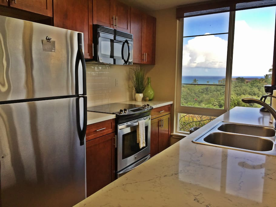 The Newly Renovated Kitchen with Ocean & Jungle Views