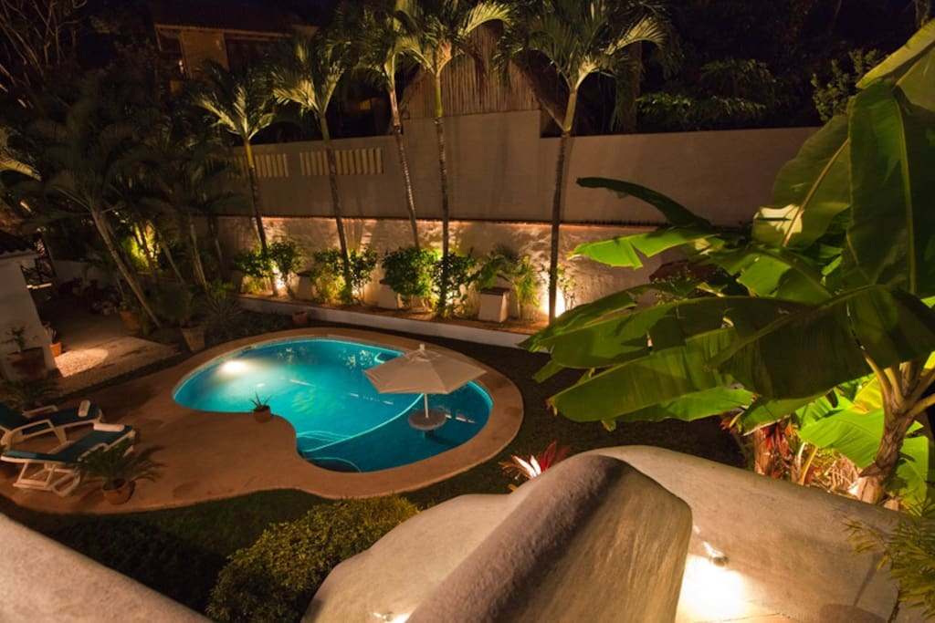 View of the walk in pool from the detached casita balcony.  The pool is one of the largest in the area as close to the beach.