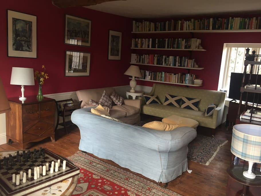Comfortable sitting room with TV and library of books