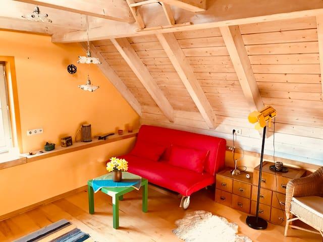 Maisonette im Dachgeschoss für zwei Personen