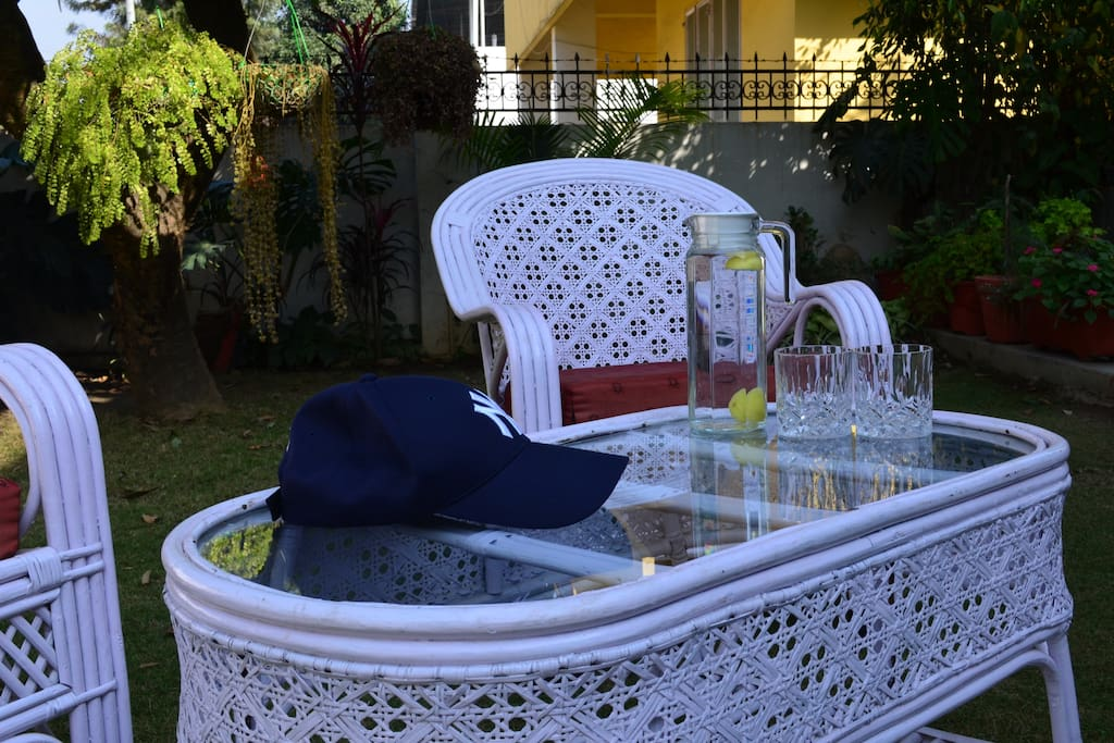 Bamboo chairs and table which can be used by the guests during their stay at The Sirmour Villa