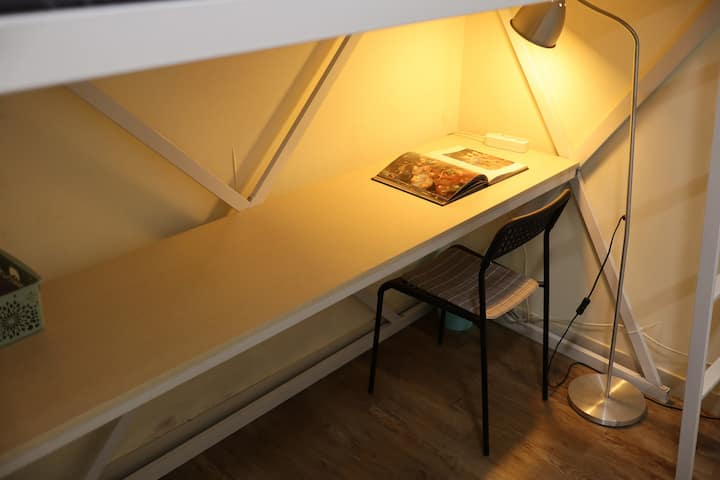 Single bunk bed desk room with private bathroom