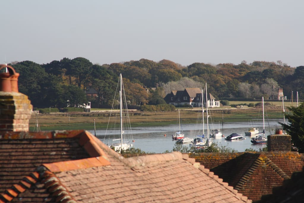 The view from the window across Chichester Harbour to Bosham Hoe...