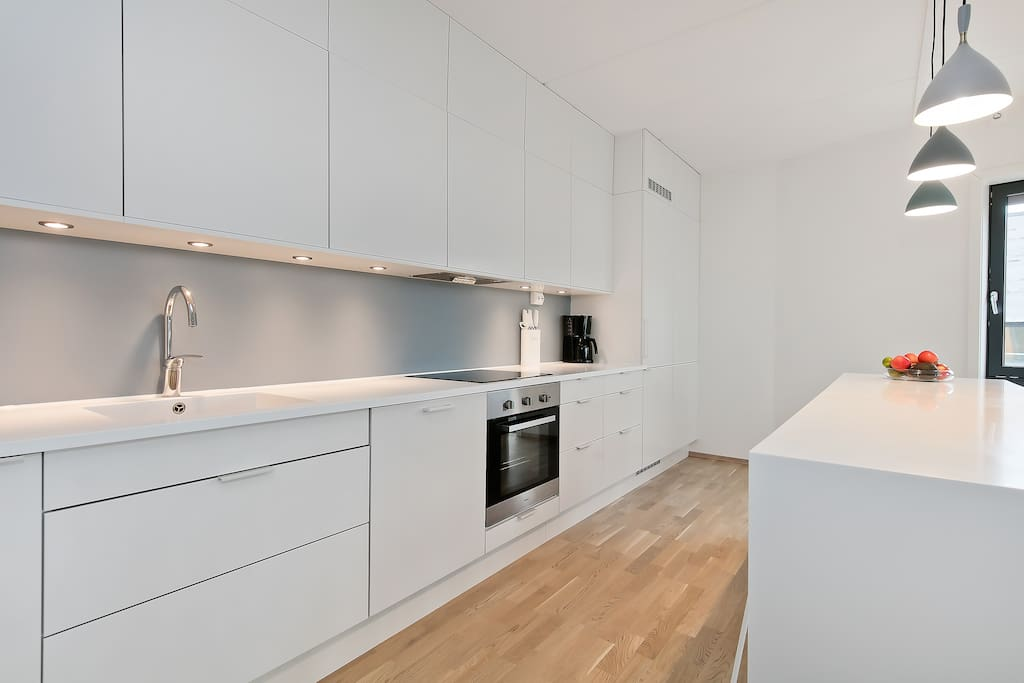 Bright and modern kitchen with ample space for cooking