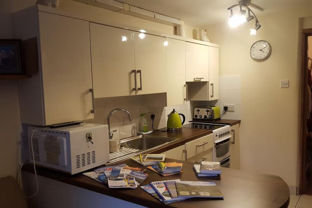 Kitchen includes Microwave, Kettle, Electric Oven/Grill/Hob, Fridge, Toaster, Plates, Cutlery etc