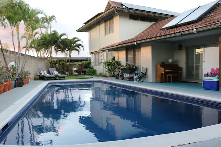 Aloha to the luxury home with a private salt water pool.