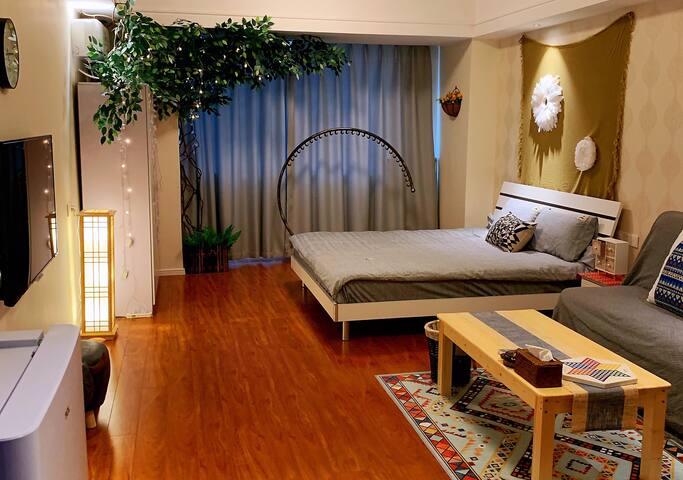 城中万达广场波西米亚风轻奢浪漫1居公寓