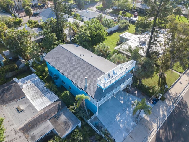 Aerial view of our beach house