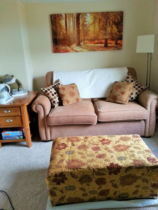 The guest own lounge area, however if you wish to bring a friend, it is a double sized sofa bed. Tea/coffee making facilities. There would be a lower rate for extra guests.
