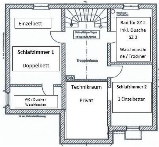 Übersicht - Schlafzimmer 1 & 2 (Technikraum wird während dem Aufenthalt nicht genutzt)