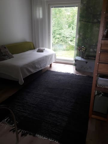 Bedroom 1 with an 80-cm single bed and an additional 80-cm hard frame mattress (similar to the  bed without legs ;) )