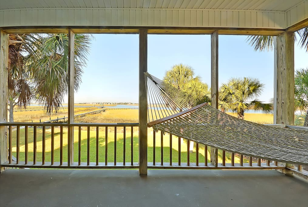 Frront Porch Hammock Looking Out Over Dock & River