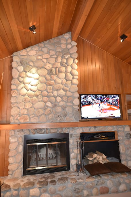 "Wood burning fireplace and New 55"" 4K TV"