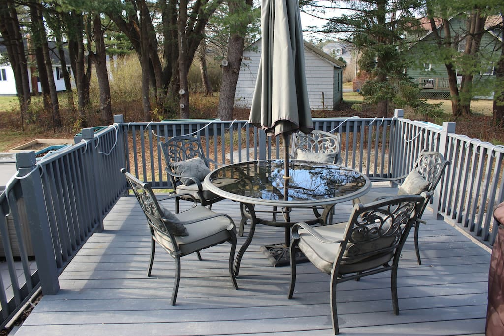 A deck to enjoy your coffee in the morning. There is also a grill you can use (in the right season), not shown in this picture.