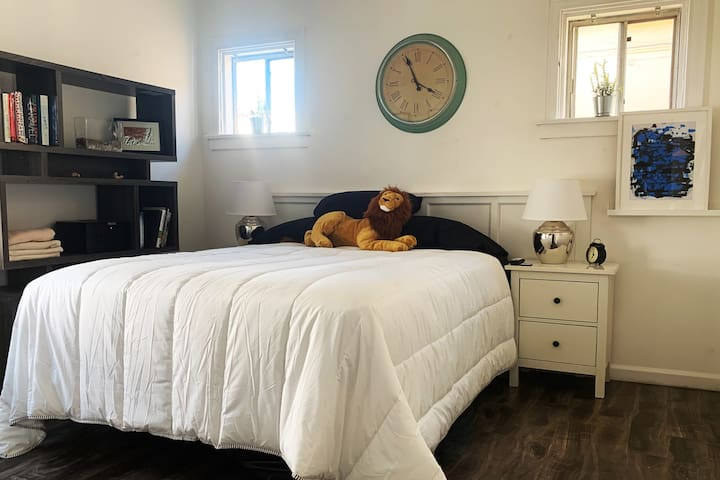 Bedroom is furnished with Queen Bed and Spectrum Cable TV, purified water cooler, and Airbed (on request) to sleep up to Three People