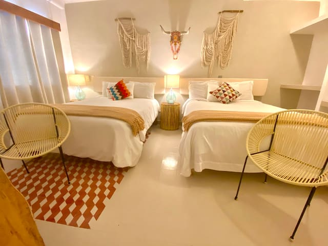 Chic room with 2 queen size beds. No Balcony and no view.