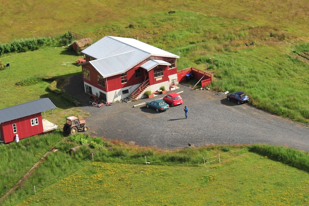 The guesthouse seen from the air.