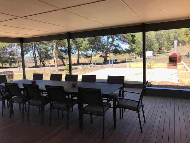 Looking out from the entertaining area across the paddocks