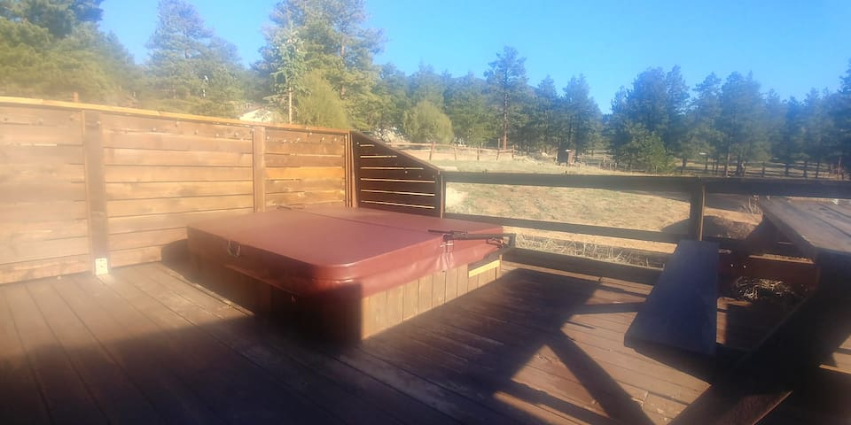 Private deck with hot tub, picnic table And gas BBQ.