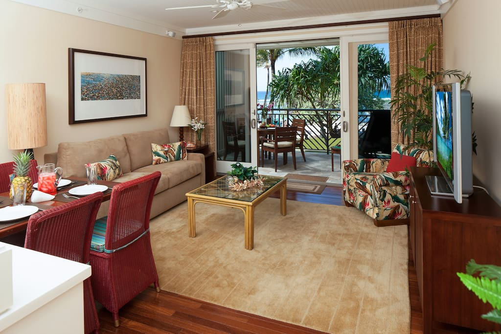 Ocean view living room and dining room