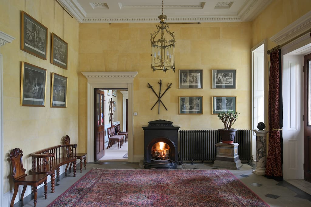 The Front Hall with a welcome fire