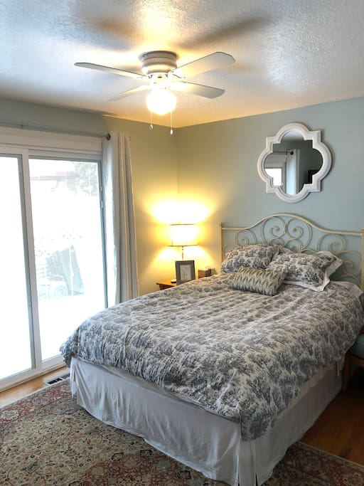 Comfortable queen size bed and wireless internet access.