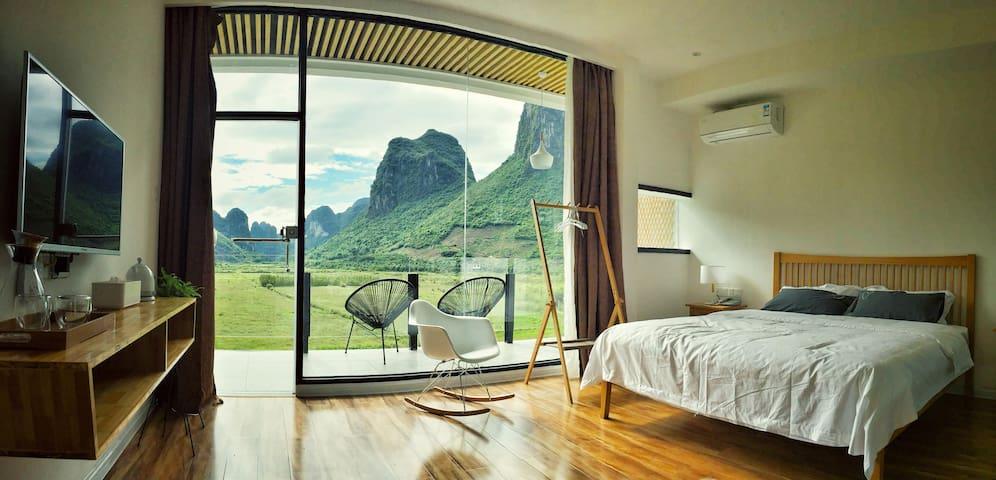 1Q84宿-阳台全山景大床房 - Guilin - Bed & Breakfast